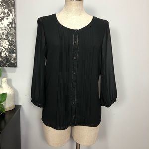 Naked Zebra Pleated Front Button Down Blouse Sz S